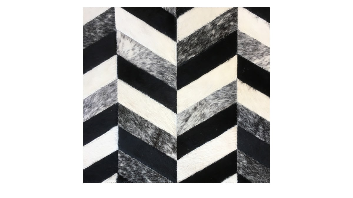 Chevron Cowhide Rug - Black White & Salt & Pepper - Herringbone Cowhide Rug - Black White & Salt & Pepper - CH12