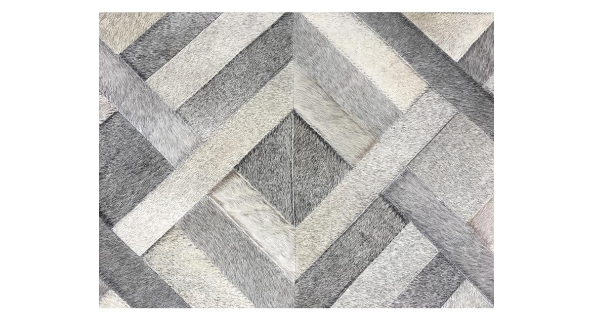 Grey Patchwork Cowhide Rug - Traful design - P26