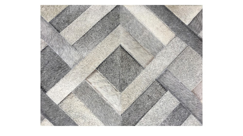 Grey Patchwork Cowhide Rug - Traful design - P26