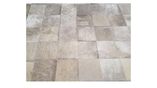 Desert Tones Patchwork Cowhide Rug - Square Tiles Hide Rug - NC19