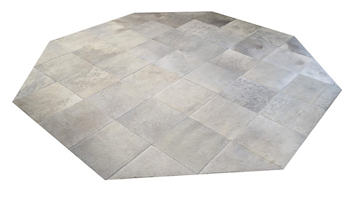 Octagonal Cowhide Rug - Large Off White Patches - P29