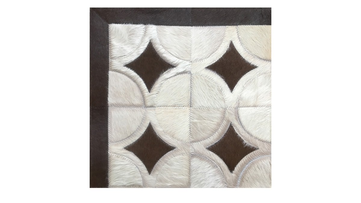 Sand and Brown Patchwork Cowhide Rug - Doral Luxor design - P30