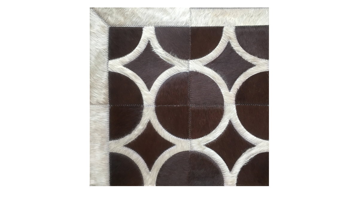 Brown and Sand Patchwork Cowhide Rug - Doral Luxor design - P31