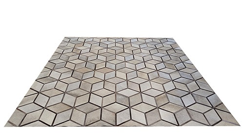 Light Taupes & Greys with Browns Hide Rug - Geo Cubes design - P33