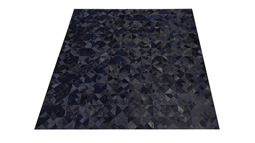 Dyed Black Hide Rug - Kaleidoscope design - NC23