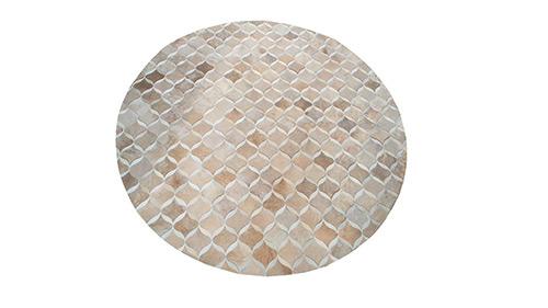 Greys & Brownish Greys Round Cowhide Rug - Paimun Design