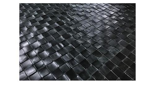 Woven Leather Rug - Black - detail - Basket Weave Leather Rug - Black - WL4